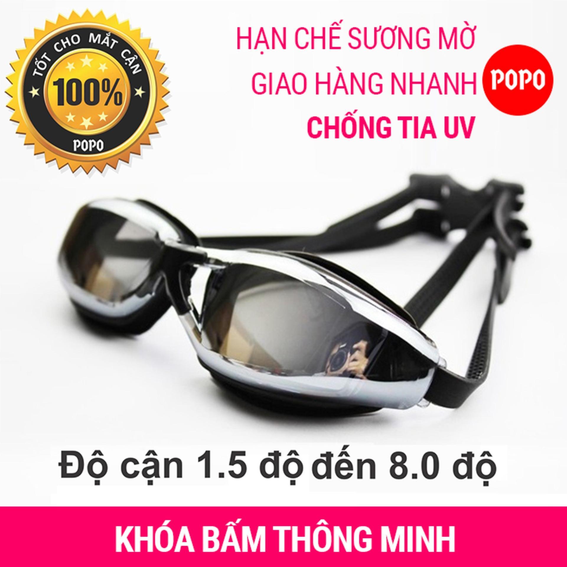 Kính Bơi Cận độ Cận Từ 1.5 đến 8.0 Cho Người Cận Thị, Mắt Kính Tráng Gương, Chống UV, Chống Hấp Hơi; Khóa đeo Kính Thông Minh POPO Collection Siêu Khuyến Mại