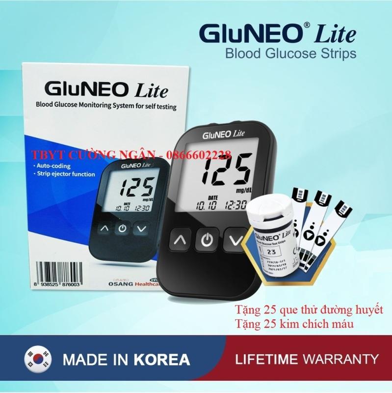 Máy Đo Đường Huyết GluNEO Lite - Tặng kèm 25 que thử đường huyết, 25 kim chích máu ( Sản xuất và nhập khẩu tại Hàn Quốc)
