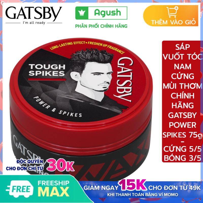 Sáp vuốt tóc nam cứng thơm Gatsby chính hãng Styling Wax Power & Spikes giá rẻ giữ nếp tạo kiểu Tough Spikes 75g vuốt tóc ngắn khô bóng không bết dính dạng sáp mềm gốc nước dễ rửa sạch hương hoa quả giá rẻ
