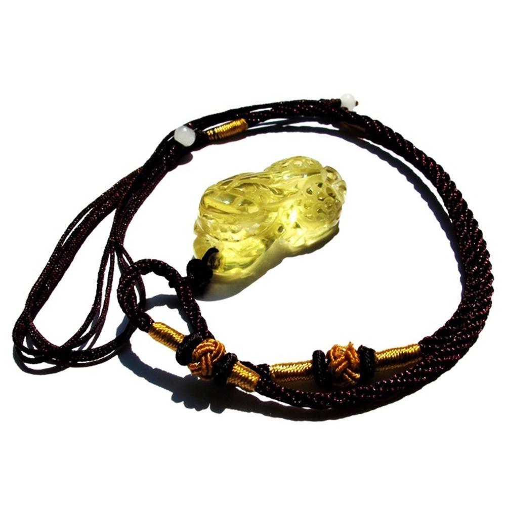 Bộ vòng cổ cặp tỳ hưu thạch anh vàng tự nhiên