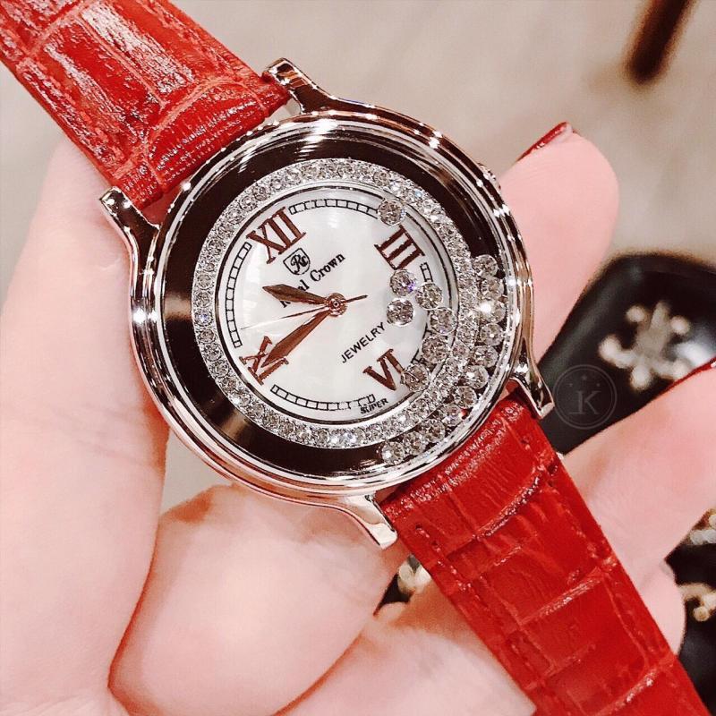 Nơi bán Đồng hồ nữ Royal Crown vỏ Trắng (Silver), dây da màu Đỏ (Red) - size 34 mm