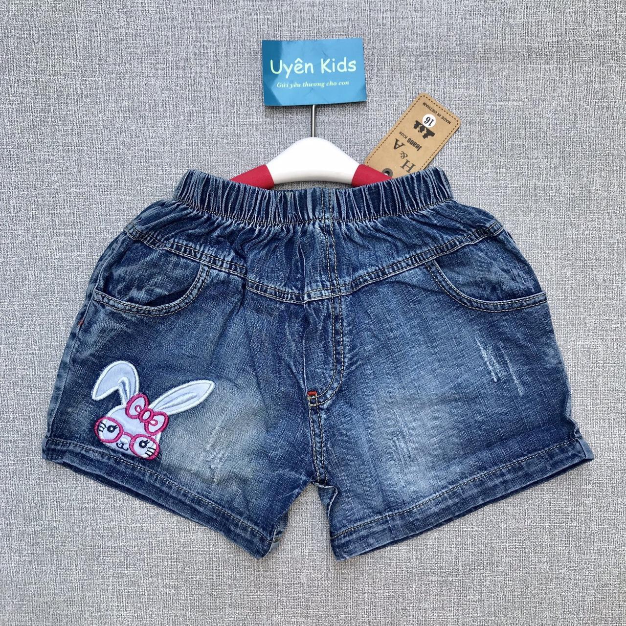 Giá bán Short jean bé gái thêu thỏ 25-50kg - (short jean bé gái, short nữ)
