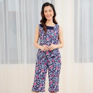 Bộ đồ lanh Việt Thắng mặc nhà quần lửng, sát nách nữ B05.2109 - Chất liệu mềm, thoáng mát, thoải mái thumbnail