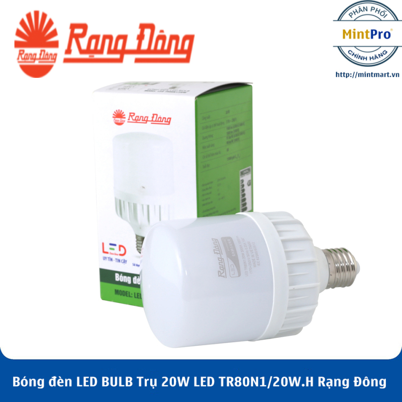 Bóng đèn LED BULB Trụ 20W LED TR80N1/20W.H Rạng Đông - Hàng Chính Hãng