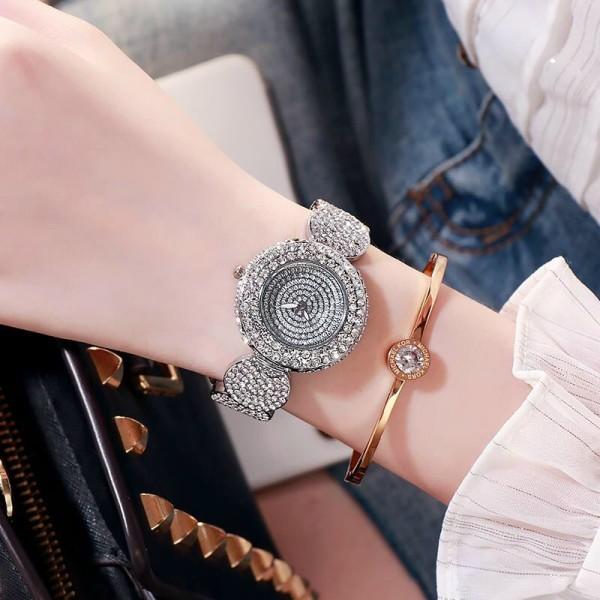 Đồng hồ thời trang nữ Luobos L140, mặt tròn, đính đá cực đẹp, dây thiết kế độc đáo kiểu lắc tay sang trọng, bảo hành 6 tháng bán chạy
