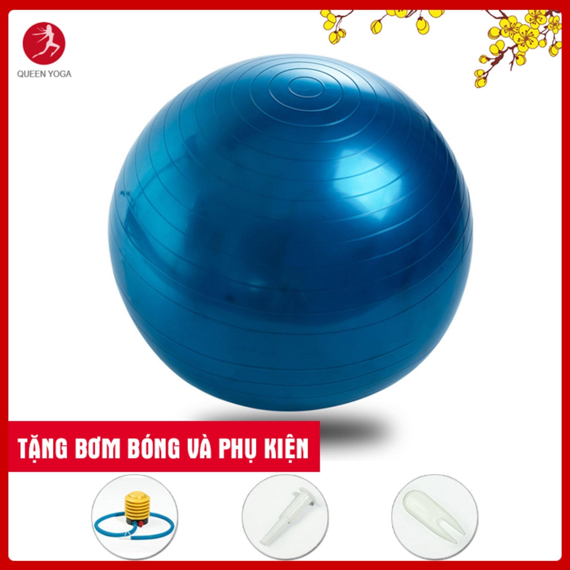 Bóng Tập Yoga Cao Cấp Queen Yoga 65cm Dày 2mm Chống Nổ - Tặng Bơm Bóng Và Phụ Kiện Giá Rẻ Bất Ngờ
