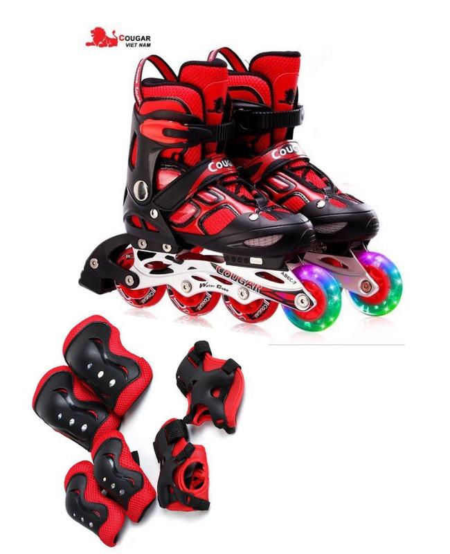 Mua Giày trượt patin cao cấp Cougar 835LSG CHÍNH HÃNG - có đèn Tặng bộ bảo hộ Gối, khuỷu, tay