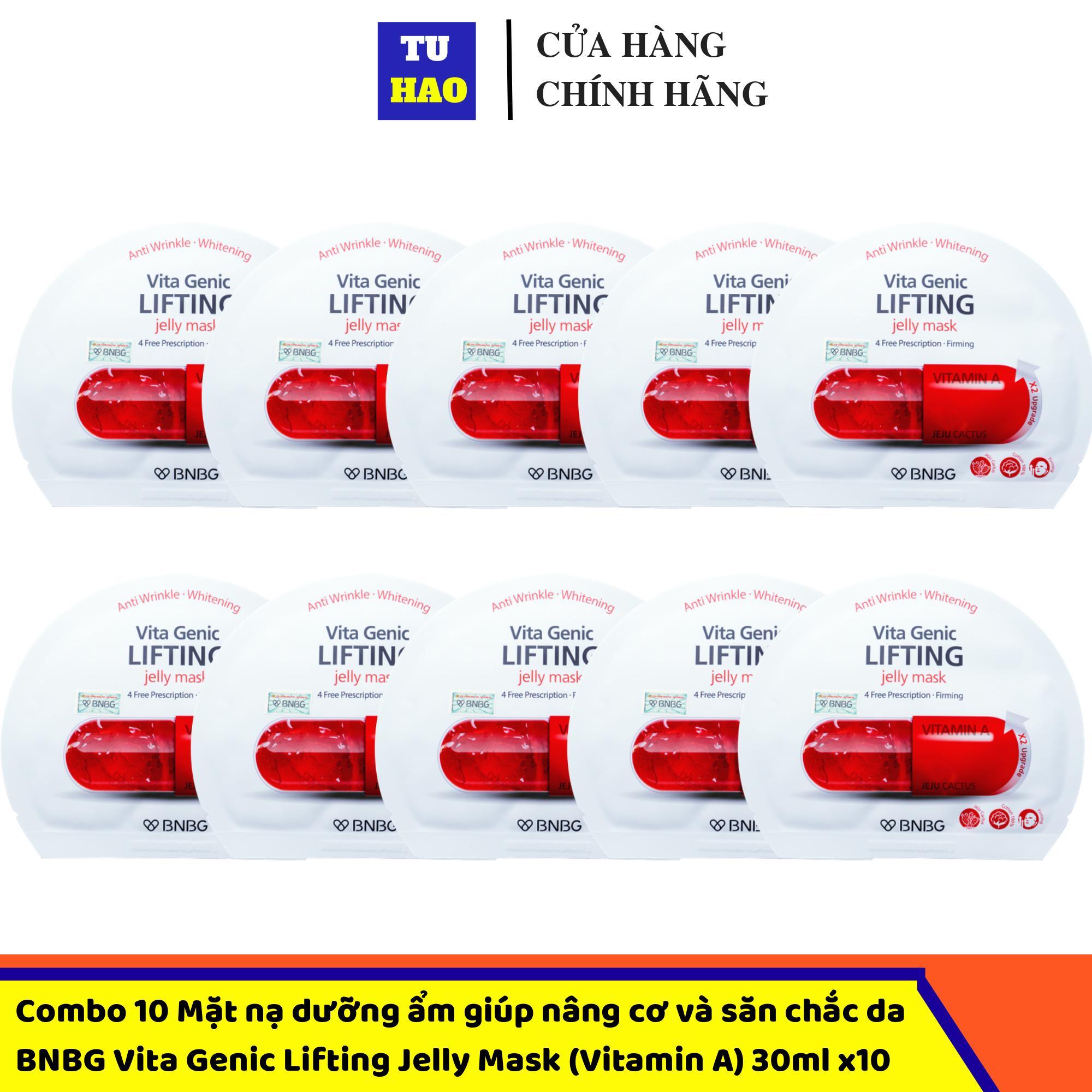 Hộp 10 Mặt nạ dưỡng ẩm giúp nâng cơ và săn chắc da BNBG Vita Genic Lifting Jelly Mask (Vitamin A) 30mlx10 cao cấp