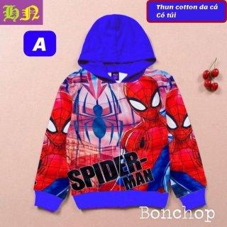 Áo khoác bé trai hình siêu nhân nhện-người nhện từ 11-43kg-Áo lạnh thun da cá thấm hút mồ hôi-Hương Nhiên thumbnail