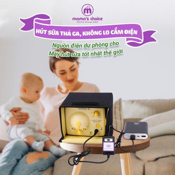 Pin sạc dự phòng Mamas Choice thiết kế Cáp kết nối chuyên biệt cho máy hút sữa Medela Pump tạo áp lực hút như khi cắm