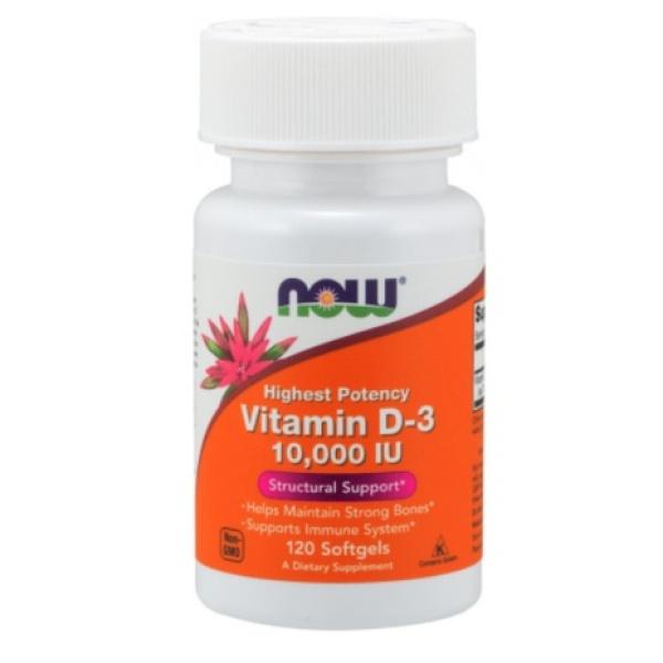 Vitamin D3   Now Vitamin D3 10000IU 120 viên - Tăng Đề Kháng - Chính Hãng - Muscle Fitness