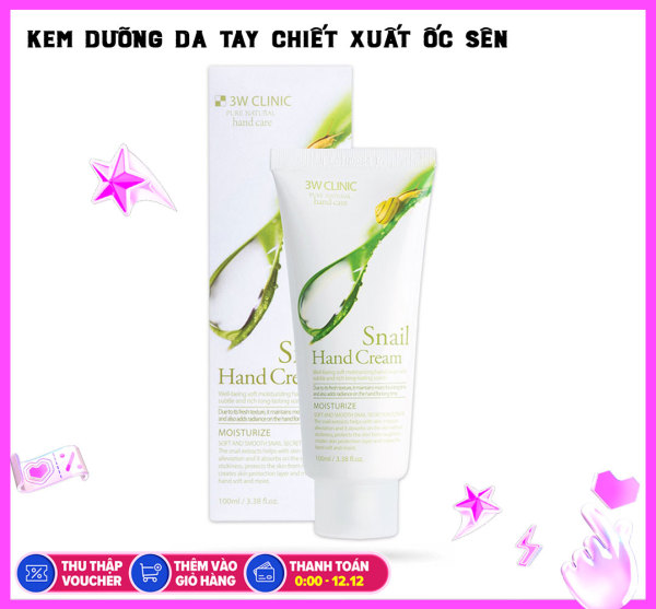 Kem dưỡng tay Ốc Sên 3W Clinic Moisturizing Hand Cream 100ml nhập khẩu