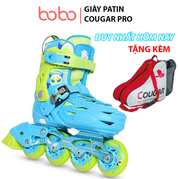 Phân phối Giày patin cho trẻ em COUGAR PRO, giày patin chỉnh size, boot vải cao cấp, bánh xe cao su đặc êm chân và an toàn