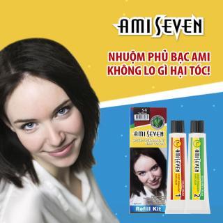 Nhuộm phủ bạc dược thảo Nhanh 7 Phút AMI SEVEN REFILL (Loại tiết kiệm) S6 Nâu đậm (60g+60g) Hàn Quốc thumbnail