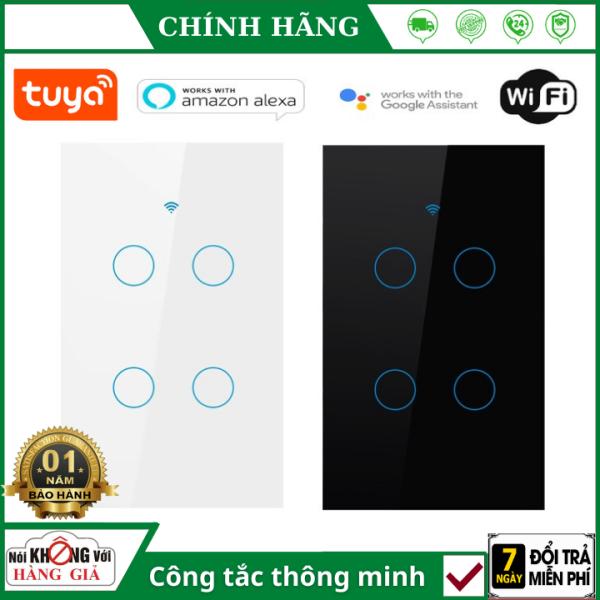 [BH 12 THÁNG] Công tắc thông minh Tuya 4 nút trắng - đen (wifi +rf 433) hổ trợ tiếng việt