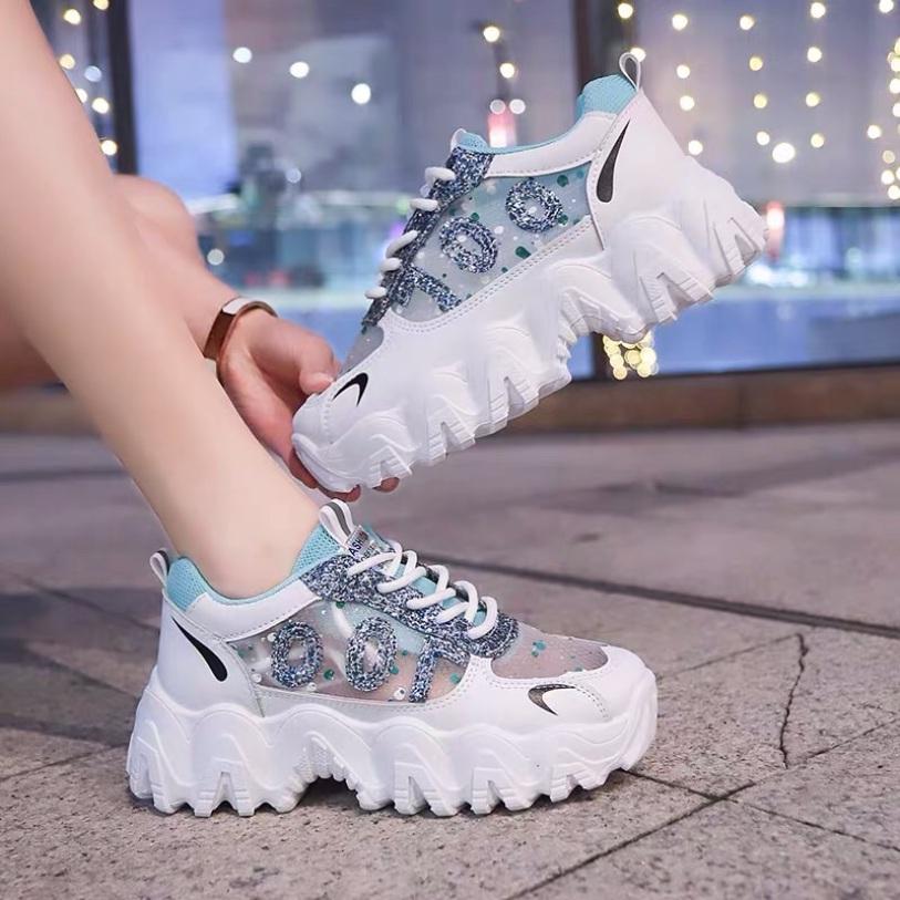 Giày thể thao nữ độn đế kim tuyến mã 100, giày sneaker nữ thoáng khí hot trend 2020 giá rẻ