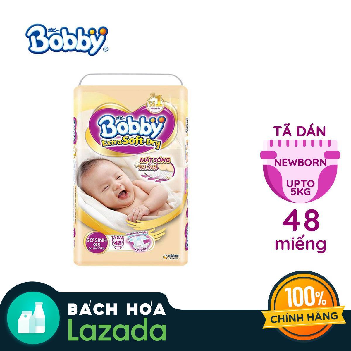 Tã/Bỉm dán sơ sinh cao cấp siêu mềm Bobby Extra Soft Dry Newborn-XS48 (0 - 5kg)