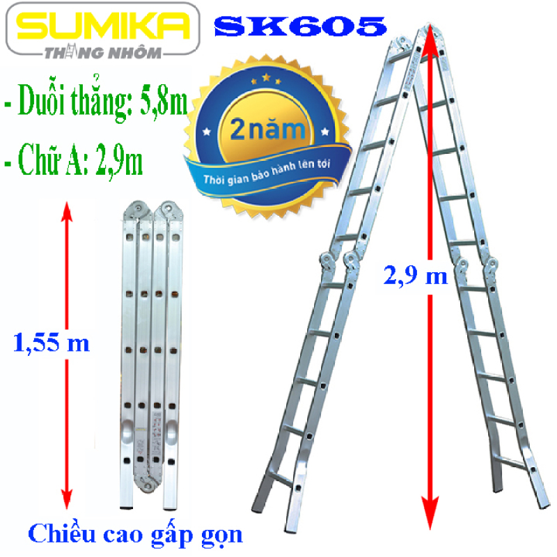 Thang nhôm gấp 4 đoạn Sumika SK605 - Chữ A 2,9m duỗi thẳng 5,8m, Độ dày của nhôm 1.5mm Tiêu chuẩn an toàn Châu Âu: EN131 Màu thang: nhôm trắng nguyên bản Trang bị: Đế cao su chống trơn trượt