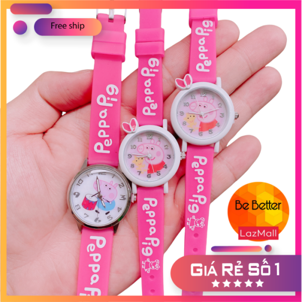 Nơi bán Đồng hồ trẻ em 🐷 Heo Peppa 🐷 khung kim loại, dây cao su mềm an toàn cho bé