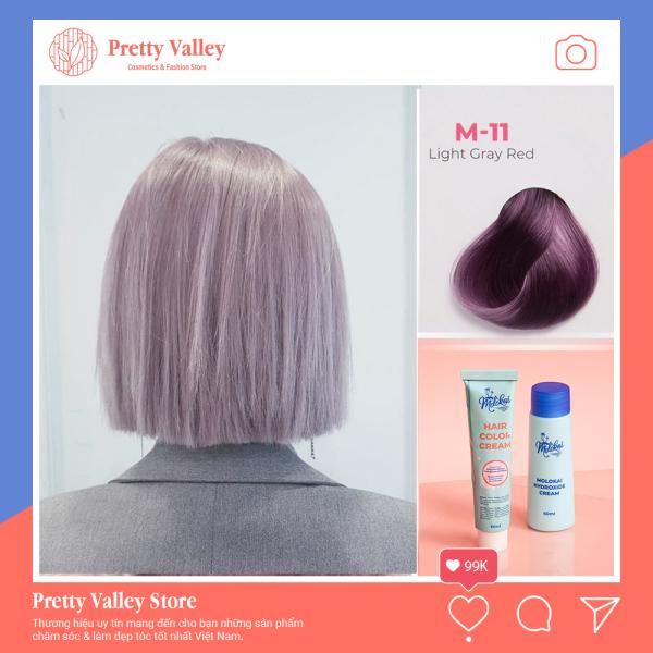 Kem nhuộm tóc cao cấp màu khói ánh tím Molokai 60ml [ TẶNG KÈM GĂNG TAY + CHAI OXY TRỢ DƯỠNG TÓC ] giá rẻ