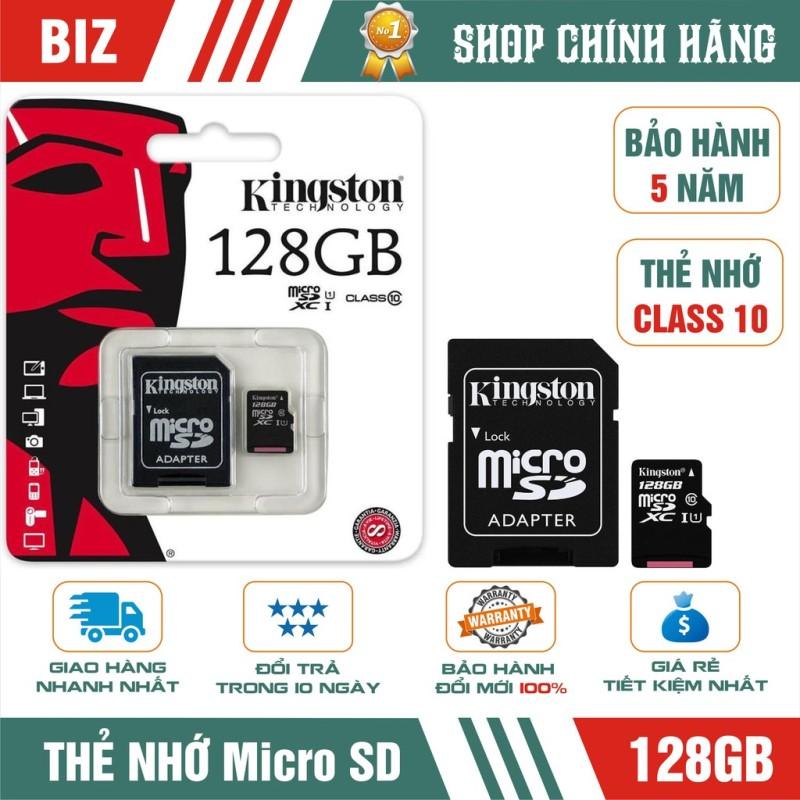 Thẻ Nhớ 128Gb Microsd Kingston Class 10 (Kèm Adapter) - Bảo Hành 5 Năm