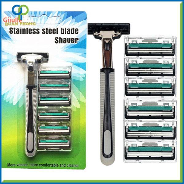 Bộ dao cạo râu Giiulle kèm 6 lưỡi thay thế màu xanh lá lưỡi kép cao cấp