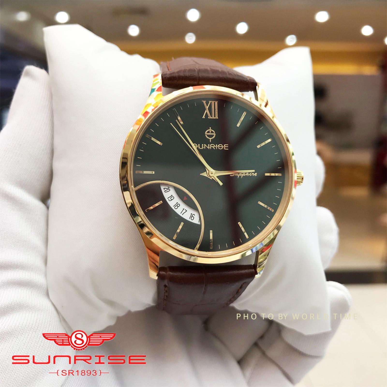 Đồng Hồ Nam Sunrise DM783SWA Mặt Đen Dây Nâu Full hộp , túi , thẻ bảo hành hãng , Sapphire chống xước , chống nước bán chạy