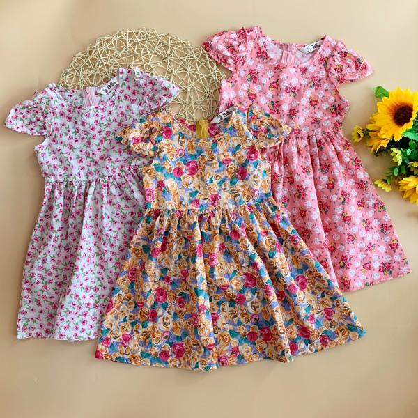 Giá bán Váy thô hoa bé gái 10-25kg cộc tay, phối bèo vai THIẾT KẾ SILBER