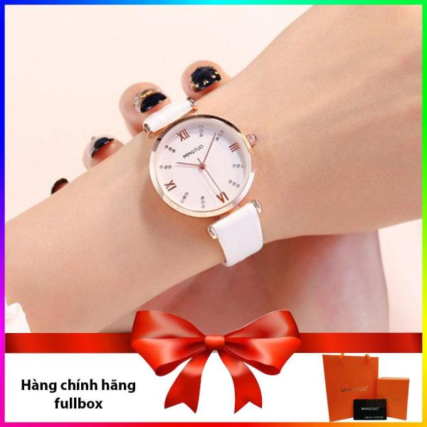 Đồng hồ nữ Mingtuo dây da mặt đính đá cao cấp Fullbox bán chạy