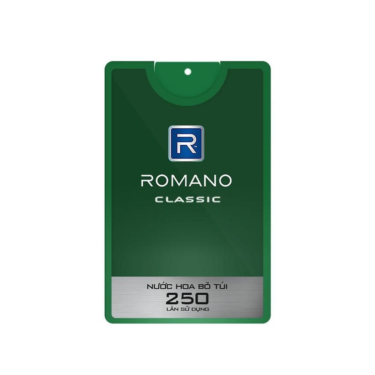 Nước hoa bỏ túi cao cấp Romano Classic cổ điển lịch lãm hương nam tính mọi lúc mọi nơi 18ml