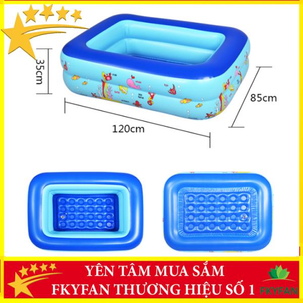 [CÓ CHỐNG TRƠN TRƯỢT] Bể bơi phao 2 tầng hình chữ nhật Size 120x85x35 cho bé - Hồ bơi cho trẻ 1,2m + Keo miếng vá bể - BBM2