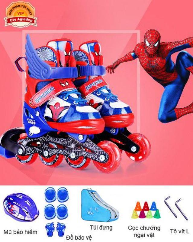 Phân phối Bộ Giày trượt Patin trẻ em hàng hiệu Disney Spiderman - Full Mũ + Bộ bảo vệ + Túi + Quà - Giày Patanh có Ánh sáng xuất Châu Âu Siêu xịn