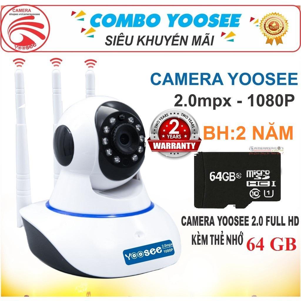 (Tặng thẻ nhớ 64 GB, Bảo Hành 24 tháng)Camera IP WIFI YOOSEE độ phân giải 2.0 MPx 1920 X 1080,Ghi âm, xoay 360 độ, đàm thoại 2 chiều, lưu trữ video tối đa 15 ngày Nhật Bản
