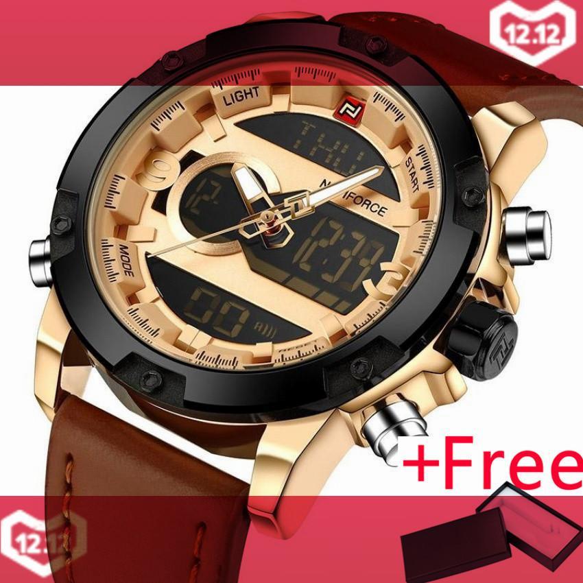 472cf9ffb NAVIFORCE Luxury Brand Men Analog Digital Leather Sports Watches Men's Army  Military Watch Man Quartz Clock