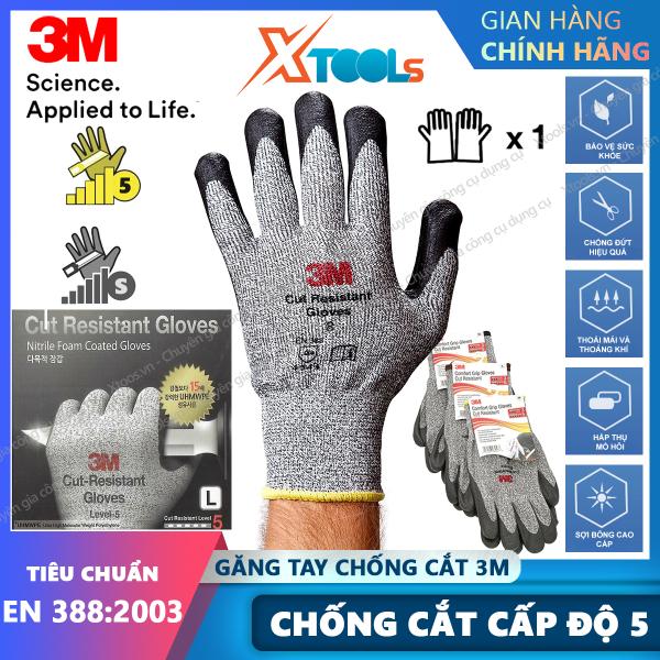 Găng tay chống cắt 3M cấp độ 5 phủ PU Găng chống cắt - chống mài mòn - xé rách - đâm xuyên theo tiêu chuẩn EN388 4543 [XSAFE] [XTOOLs]