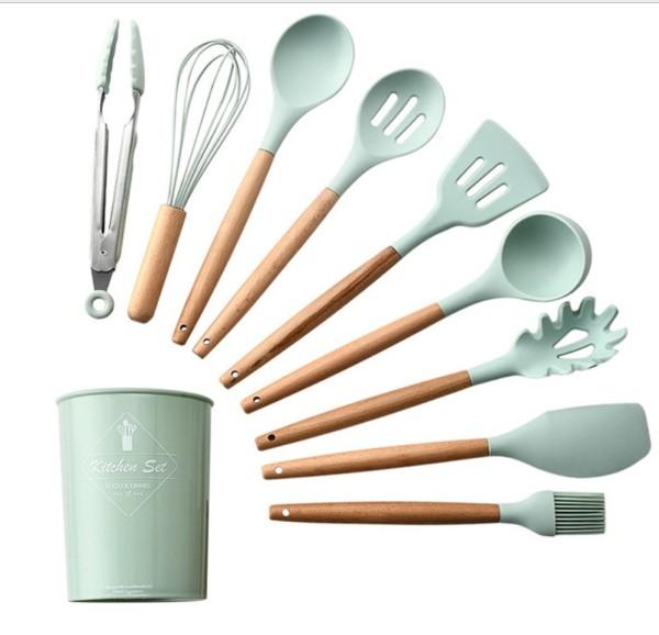 Bộ dụng cụ bếp nấu ăn Silicone Kitchenware Set 9 Món dùng cho chảo không dính