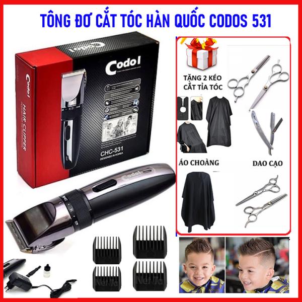 [Tặng 2 kéo+ áo choàng+ dao cạo] Tông đơ cắt tóc chuyên nghiệp loại tốt Codos 531, tăng đơ hớt tóc trẻ em và gia đình đa năng cho bé, cho trẻ sơ sinh sử dụng không dây