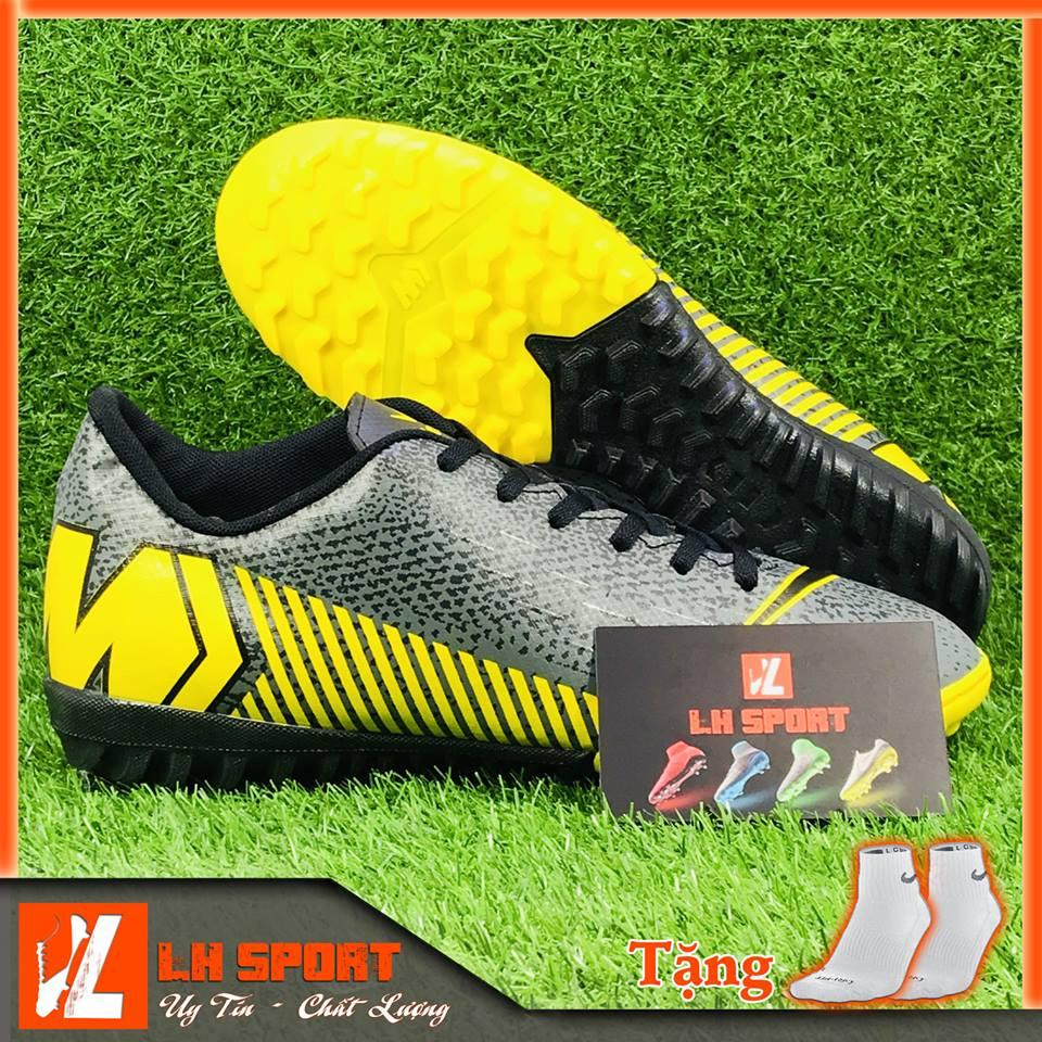 Giày đá bóng giày đá banh giày TF giày phủi sân cỏ nhân tạo MERCURI xám vàng, siêu đẹp và bền đã khâu mũi chắc chắn. (Tặng kèm vớ)