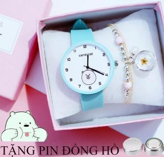 đồng hồ dây cao su nữ Candycat hình mặt con gấu trắng, dây cao su mềm mại, chạy bằng pin và được tặng kèm 1 viên pin thumbnail