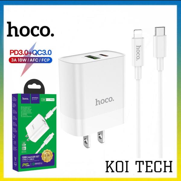 Bộ dây sạc kèm củ sạc nhanh iphone PD QC3.0 hoco c80 - cốc Sạc nhanh iphone 18W 2 cổng USB và pd kèm cáp type c đến lightning Hoco C80