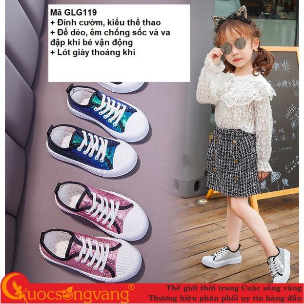 Giày thể thao bé gái đính cườm giày bé gái đế êm thoáng khí GLG119 giá rẻ