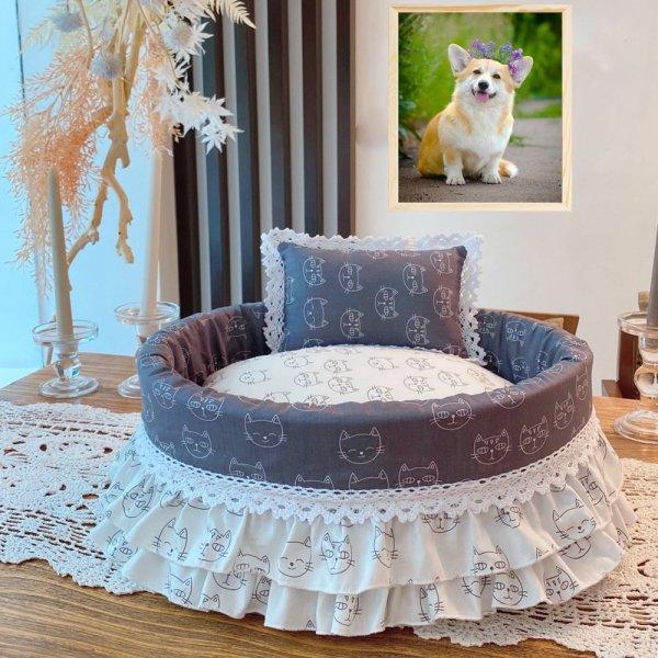 [HCM]Nệm caro cá tính cho chó cưng kèm góisiêu đẹp để trong phòng ngủ cùng sen nhé-79105
