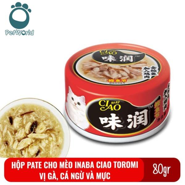 Thức ăn cho mèo pate Inaba Ciao Toromi lon 80gr vị Gà, cá ngừ và mực