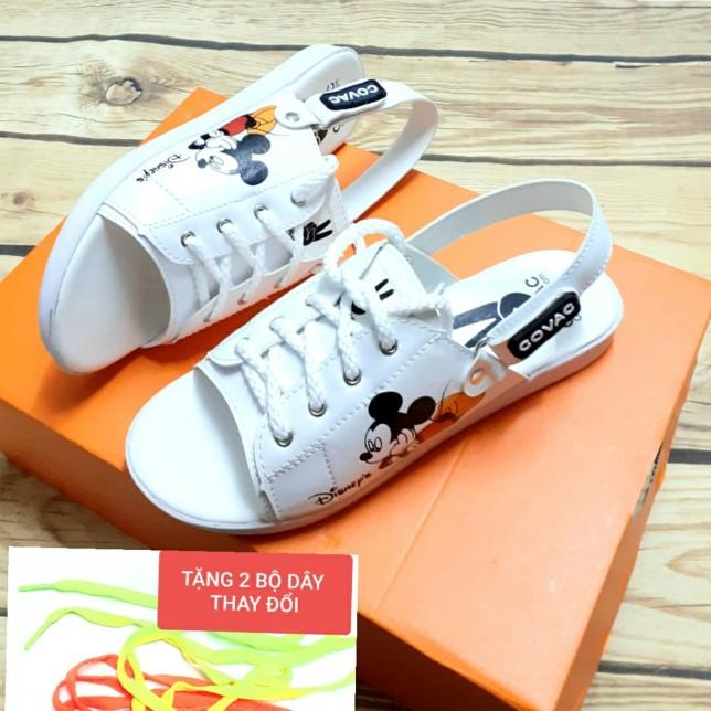 Giày sandal nữ chuột mickey trắng COVAC thời trang hot 2020,dép sandal nữ mickey thời trang giá rẻ