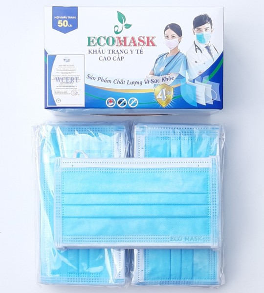 [50 cái Xanh] Khẩu trang y tế 4 lớp ECO MASK face 4 Layers High Level ngăn ngừa vi khuẩn lọc bụi hiệu quả 99% kháng khuẩn cao cấp (Xanh) 50 cái hộp