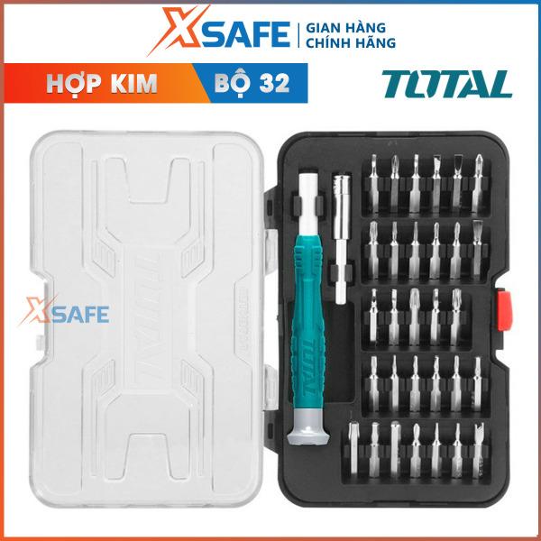 Bộ 32 tua vít sửa điện thoại TOTAL THT250PS0321 Tua vít được tinh luyện từ thép hợp kim chắc chắn bển bỉ dễ dàng thay đổi các đầu linh hoạt phân phối chính hãng XSAFE