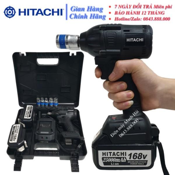 Máy siết bulong Hitachi 168v 2 pin không chổi than Hitachi 168v PIN khủng 10 Cell - Tặng Đầu chuyển vít và khẩu 22