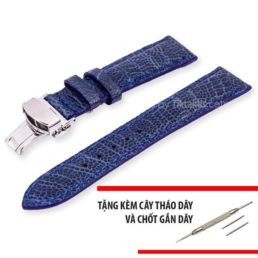 Nơi bán Dây đồng hồ nam da đà điểu thật kèm khóa bướm chống gãy dây Size 22mm - Tiktakus