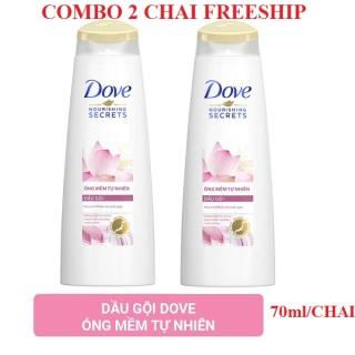 Combo 2 chai Dầu gội Dove hoa sen hồng dưỡng tóc mềm mượt óng ả 70ml chai thumbnail