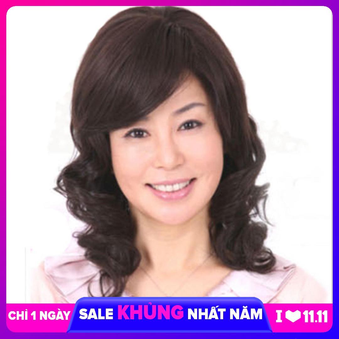 [TẶNG KÈM LƯỚI] Tóc giả nữ trung niên nguyên đầu sợi tơ Hàn Quốc CÓ DA ĐẦU - TG75 ( NÂU TỐI TỰ NHIÊN )